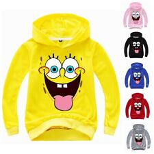 Spongebob Girls Boys Kids Hooded Tops T-shirt Thin Hoodie Cartoon Costume 2-10Y