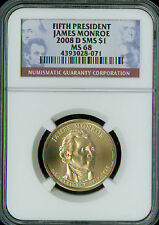2008-D JAMES MONROE PRES. DOLLAR NGC MS-68 SMS 2ND FINEST GRADE SPOTLESS .