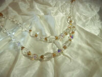 Sparkly Vintage 1950's Lucite with Gold Accent Double Strand Necklace  206D8