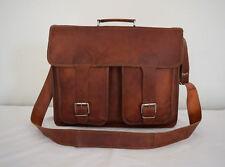 """Large 18"""" Vintage Leather Office Briefcase Laptop Satchel Business Messenger Bag"""