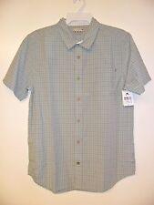 "RUSTY Men's S/S Button-Up Shirt ""Threaded"" Gray - Medium - NWT - Reg $65"