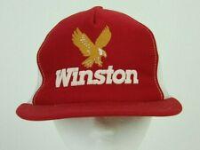 Vintage Winston Cigarettes Mesh Trucker Cap Hat Red White Eagle Logo Snapback