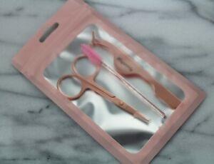 False Eyelash Applicator Application Kit Rose Gold Nail Scissors and Spoolie NEW