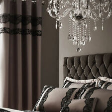 66x72 Lined Eyelet Curtains Mocha Brown Satin 66 x 72 Inch Drop ** ONLY 12.99 **