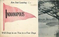 Indianapolis Indiana~Will Drop In~View Of A Lake~1912 Pennant Postcard