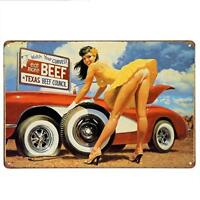 Watch Your Curves Eat More Beef Metal Tin Sign