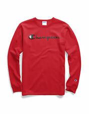Champion Life Script Logo T-Shirt Men's Long-Sleeve Tee Athletic Fit Crewneck