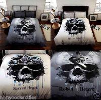 Rebel Heart Snake Skull/Sacred Heart Gothic/Vintage Duvet Cover Set Bedding