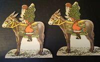 "2 vintage 6"" paper die cut Santa riding a donkey SANTA CLAUS EPHEMERA collectors"