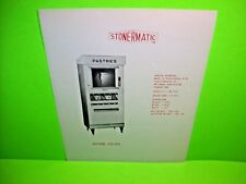 Stonermatic Model 92-SQ Original Pastries Food Vending Machine Promo Sales Flyer