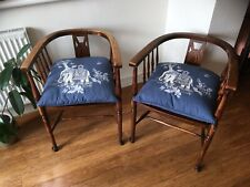 Unusual Pair Early 19th Century Pad Foot Tub Chairs, Armchairs Windsor Carvers
