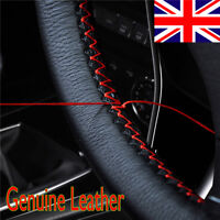 "14"" - 15"" Soft Leather Steering Wheel Cover - Black With Red Cross Stitching UK"