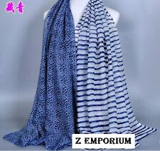 "New Viscose Flowers & Stripes Scarf Big Size 180*90 cm (70.9"" x 35.4"") colors"