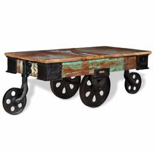 Coffee Table Reclaimed Wood 90x45x35 Cm Vintage Industrial Style Iron Wheels