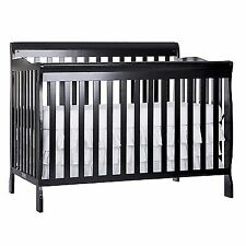 Convertible Crib Fixed Side Nursery Baby Furniture Toddler Bed Dream On Me  Black