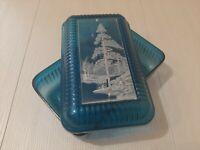 USSR Soviet vintage plastic box Forest. Blue