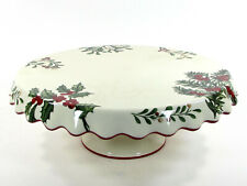 "NEW Better Homes & Gardens WINTER FOREST 12"" Pedestal Cake Stand Plate Heritage"