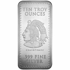 Aztec Warrior Cuahtemoc & Calendar Mexico 10 oz Silver 999 Fine Bar