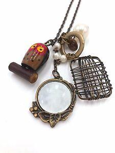 Xmas Vintage antique nightowl pearl mirror flower button necklace pendant winter