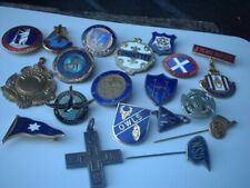 vintage enamel badges badge pin job lot various mixed assorted vintage bundle