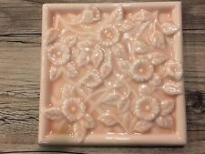 "4 VTG RARE LATCO EMBOSSED FLORAL CERAMIC TILE 4"" PINK LOS ANGELES TILE CO JAPAN"
