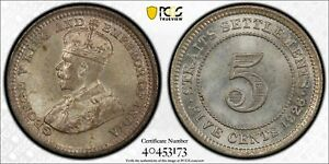 Straits Settlements silver George V 5 cents 1926 GEM uncirculated PCGS MS65