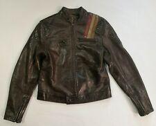 Belstaff Black Prince distressed Brown Leather Biker Jacket Size 42 Very Rare