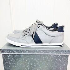 Aldo Grey Leather Canvas Black Stripe Sneakers Men's Size 7.5