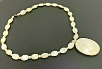 """Vintage Mother of pearl Pendant Beaded Necklace 18"""""""