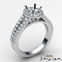 Halo U Cut Prong Diamond Engagement Ring Oval Semi Mount 14k White Gold 0.75Ct