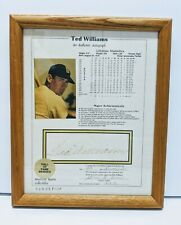 TED WILLIAMS Signed Autograph 8 x 10 Stat Sheet Notary Notarized Photo Framed