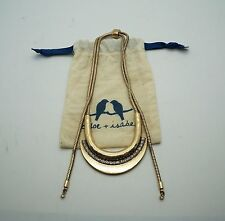 CHLOE & ISABEL Brass Half Circle Crystal Statement Necklace NEW w/ Pouch $65