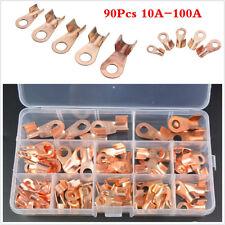 90pcs 10-100A Copper Car Open Lugs Terminals Wire Connectors Electrical Kit& Box