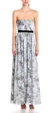 "$398 BCBG LT DOVE COMBO ""AMBER"" PRINTED CHIFFON STRAPLESS LONG DRESS GOWN NWT 0"