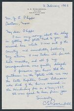 C.E. ROSENDAHL AUTOGRAPHED LETTER WRITTEN IN RESPONSE TO A PHOTOGRAPH VF BR1953
