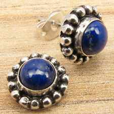LAPIS LAZULI Gems RETRO STYLE LIGHTWEIGHT Studs Earrings ! Silver Plated Jewelry