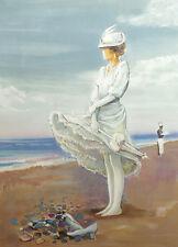 """Bernard Peltriaux hand signed lithograph fine art """"Femme sur la Plage"""", France"""