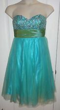 Prom Homecoming Dress David's Bridal Strapless Gown Green Blue Sequin Sz M JB