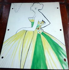 Vintage Original 1950s Fashion Evening Gowns Designer Drawing Painting