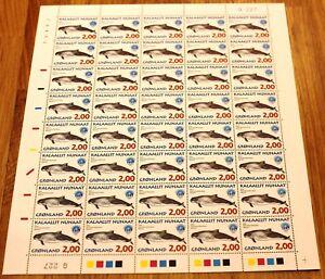 Greenland Full Sheet Marginal G227 1998 Whales III - Harbor Porpoise - MNH