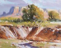"TOM HAAS (b.1952) 'Arroyo' oil 11""x14"" Western desert wash near Sedona Arizona"