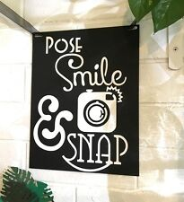 Photo Booth Pose Smile & Snap - Photo Booth Sign & 4 Photo Props