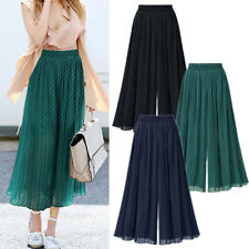 Women Casual Pleated Flare Pants Trousers AU Size 6 8 10 12 14 16 18 20 #1586