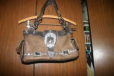 western handbag bling buckel brown chain country road rodeo style leather