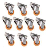 32mm Orange Nylon Swivel Caster Wheel for Trolleys Furniture 17kg, 10pc Pack
