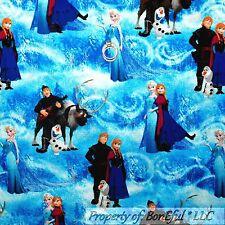 BonEful Fabric FQ Cotton Quilt Blue FROZEN Disney Sisters Snow*man OLAF Princess