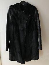 Orig Helmut Lang Coat Leder Pelz Mantel Jacke Blogger Gr L Schwarz Black