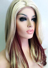 Long Platinum Blonde & Cranberry Red Synthetic Wig