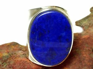 Adjustable  Blue Oval  Lapis Lazuli  Sterling  Silver  925  Ring