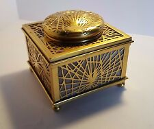 Square Antique Tiffany Studios Pine Needle Inkwell 844 Bronze Doré Caramel Slag